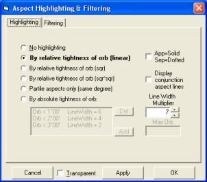 Solar Fire Aspect Filtering
